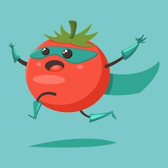 Lindo tomate en un personaje de dibujos animados de traje de superhéroe aislado.