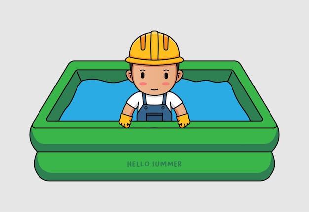 Lindo trabajador nadando con pancarta de saludo de verano hola