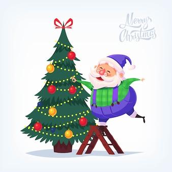 Lindo traje azul de dibujos animados santa claus decorando el árbol de navidad feliz navidad ilustración