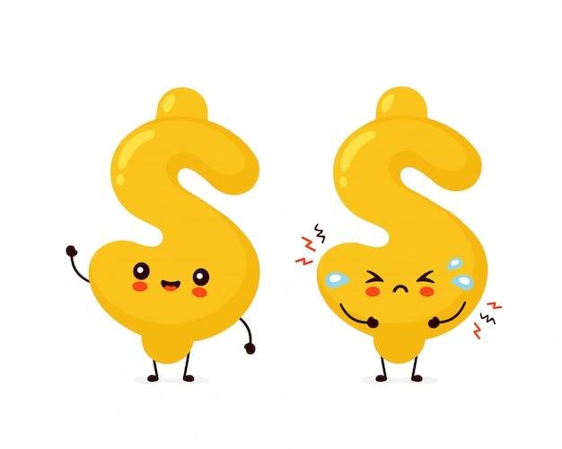 Lindo y triste grito personaje de signo de dólar.