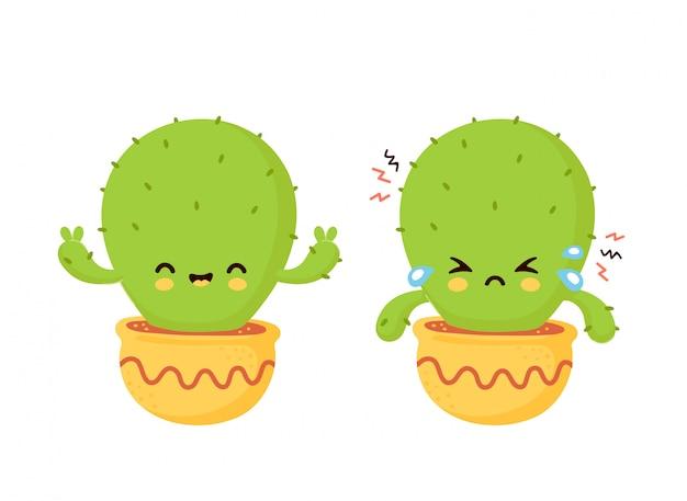 Lindo triste llorar cactus seco y feliz. ilustración de dibujos animados plana. aislado sobre fondo blanco concepto de cactus en maceta
