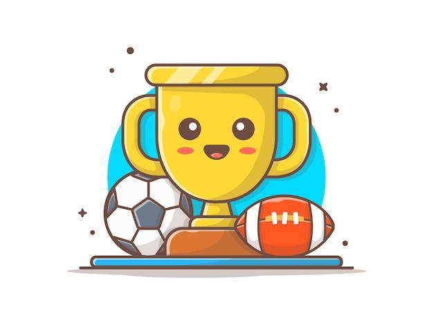 Lindo trofeo con balón de fútbol y fútbol icono ilustración