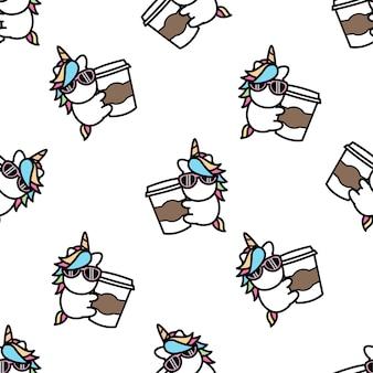 Lindo unicornio ama el patrón transparente de dibujos animados de café