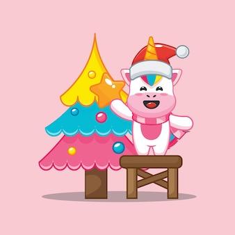 Lindo unicornio con árbol de navidad en el día de navidad linda ilustración de dibujos animados de navidad