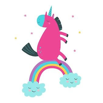 Lindo unicornio en arco iris con estrellas ilustración de vector de estilo de dibujos animados con unicornio