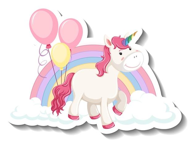 Lindo unicornio con arco iris y nubes sobre fondo blanco.