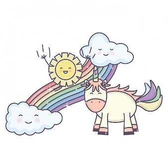 Lindo unicornio en el arco iris con nubes y sol kawaii personajes