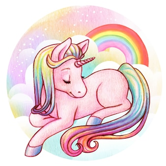 Lindo unicornio arcoiris acuarela
