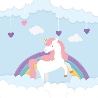 Lindo unicornio arcoiris y corazones amor nubes fantasía mágica sueño ilustración de dibujos animados
