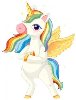 Lindo unicornio arcoiris en posición de pie sobre fondo blanco