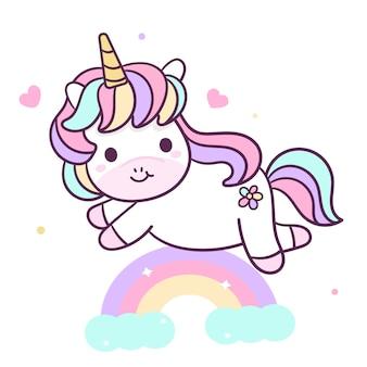 Lindo unicornio con arcoiris