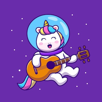Lindo unicornio astronauta tocando guitarra icono dibujos animados ilustración