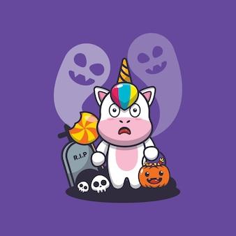 Lindo unicornio asustado por un fantasma en el día de halloween linda ilustración de dibujos animados de halloween