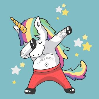 Lindo unicornio bailando ilustración