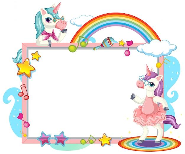 Lindo unicornio con banner en blanco