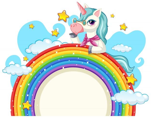 Lindo unicornio en banner de cielo