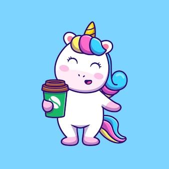 Lindo unicornio con café ilustración vectorial de dibujos animados.