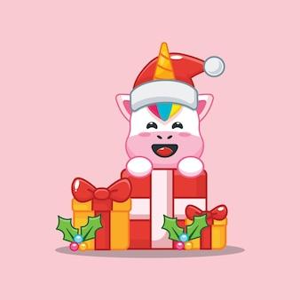 Lindo unicornio y caja de regalo de navidad linda ilustración de dibujos animados de navidad