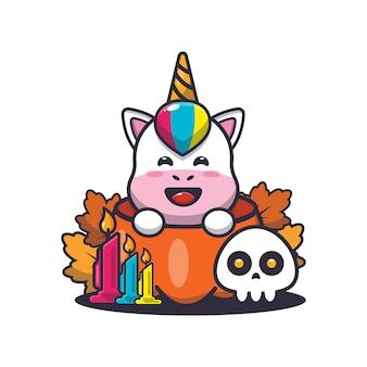 Lindo unicornio en calabaza de halloween linda ilustración de dibujos animados de halloween