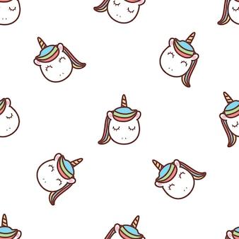 Lindo unicornio cara dibujos animados de patrones sin fisuras