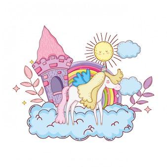 Lindo unicornio con castillo y arcoiris en nube