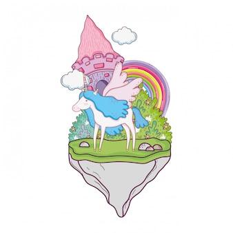 Lindo unicornio con castillo y arcoiris