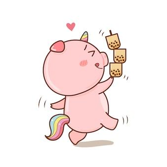 Lindo unicornio de cerdo con dibujos animados de té de burbujas dibujado a mano