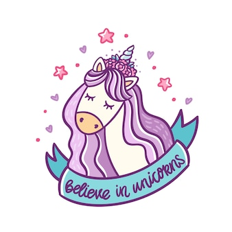 Lindo unicornio y cinta azul con inscripción creen en unicornios