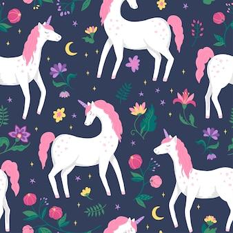 Lindo unicornio cola de hadas de patrones sin fisuras.