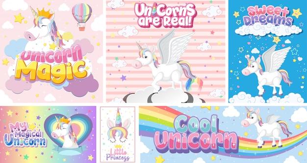 Lindo unicornio en color de fondo pastel