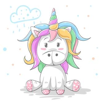 Lindo unicornio de color de peluche