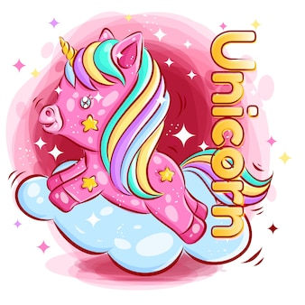 Lindo unicornio colorido jugando en la nube con la sonrisa feliz ilustración de dibujos animados