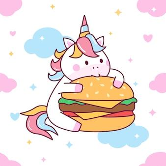 Lindo unicornio comer hamburguesa de patrones sin fisuras