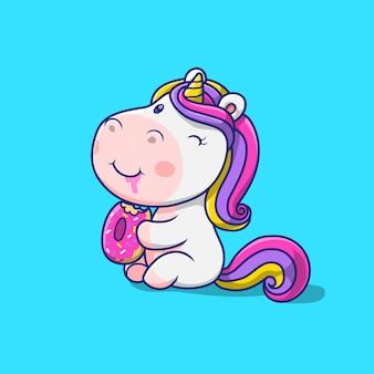 Lindo unicornio comiendo ilustración de donut