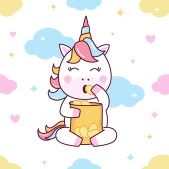 Lindo unicornio comiendo papas fritas de patrones sin fisuras