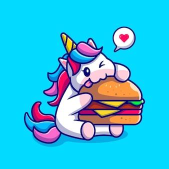 Lindo unicornio comiendo personaje de dibujos animados de hamburguesa. alimentos para animales aislados.