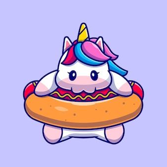 Lindo unicornio comiendo personaje de dibujos animados de hotdog. alimentos para animales aislados.