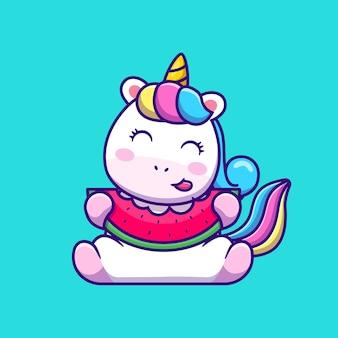 Lindo unicornio comiendo sandía dibujos animados