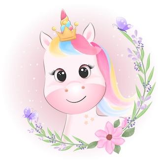 Lindo unicornio y corona de flores ilustración acuarela de dibujos animados