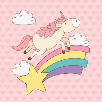 Lindo unicornio de cuento de hadas en el arco iris con estrella