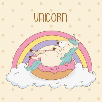 Lindo unicornio de cuento de hadas en donut con arco iris