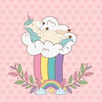 Lindo unicornio de cuento de hadas en guirnalda con arco iris