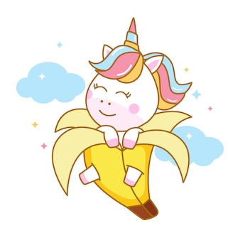 Lindo unicornio dentro de la cáscara de plátano