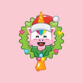 Lindo unicornio en el día de navidad linda ilustración de dibujos animados de navidad