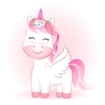 Lindo unicornio dibujado a mano dibujos animados animal acuarela ilustración