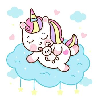Lindo unicornio de dibujos animados dormir abrazo conejito conejo dibujos animados dulce sueño animal kawaii