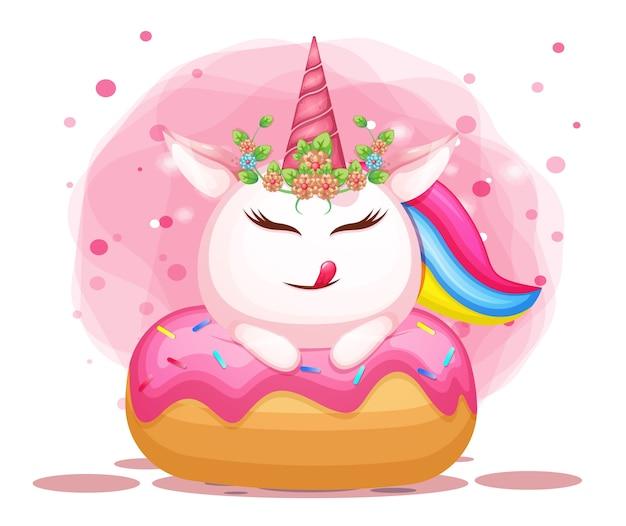 Lindo unicornio en dibujos animados de ilustración de delicioso donut