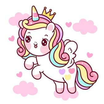 Lindo unicornio de dibujos animados princesa pegaso en nube kawaii animal