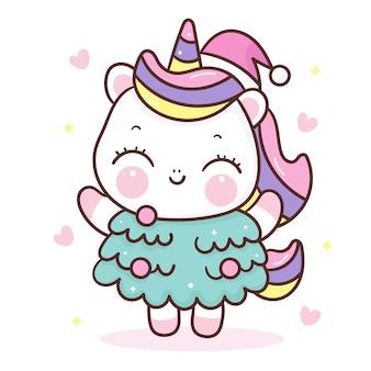 Lindo unicornio de dibujos animados usar árbol de navidad estilo kawaii