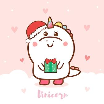 Lindo Unicornio Dinosaurio Con Un Regalo Para Navidad Vector Premium ¡hemos preparado unas postales de navidad para niños que te van a encantar! lindo unicornio dinosaurio con un